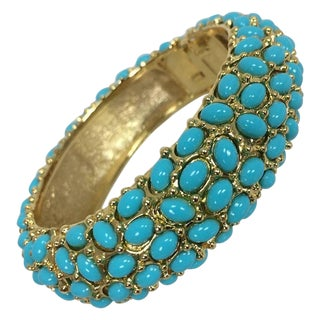 Kenneth Lane Turquoise Cabochon Encrusted Gold Clamper Bracelet For Sale
