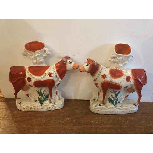 Antique Cow Staffordshire Spill Vases - a Pair For Sale - Image 13 of 13
