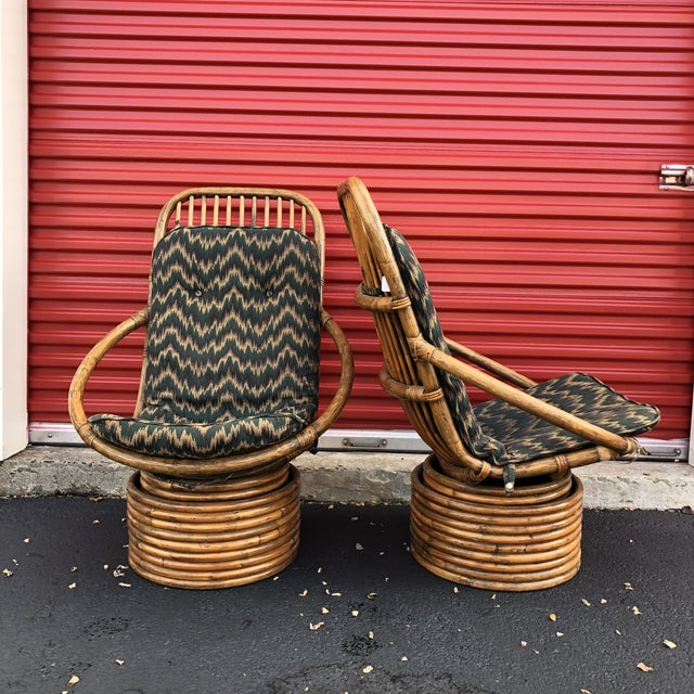 1960s Anglo-Indian Rattan Swivel Lounge Chairs - a Pair For Sale - Image 4 of 13