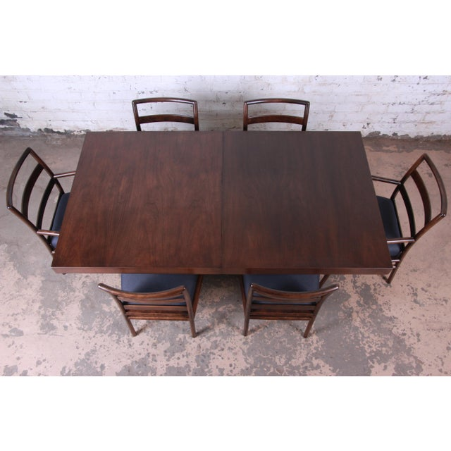 Wood Robsjohn Gibbings for Widdicomb X-Base Walnut Dining Table, Newly Restored For Sale - Image 7 of 11