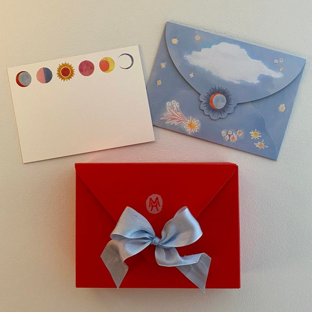 "Paper Happy Menocal ""Celestial"" Stationery - Set of 20 Cards and Custom Lunar Envelopes For Sale - Image 7 of 7"