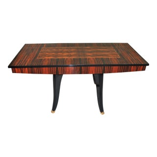 Monumental French Art Deco Macassar Center Table or Dining Table, circa 1940s . For Sale