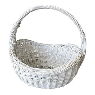 1980s Large Wicker White Basket For Sale