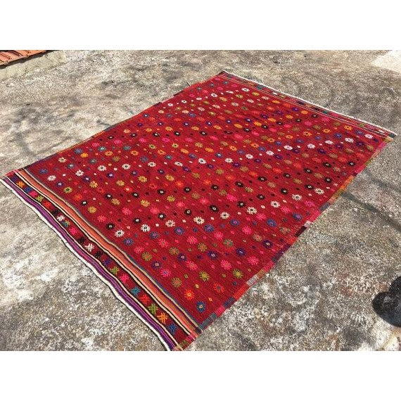 Islamic Vintage Turkish Kilim Rug - 6′ × 7′11″ For Sale - Image 3 of 6