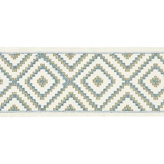 Sample, Scalamandre Medina Embroidered Tape, Mineral For Sale