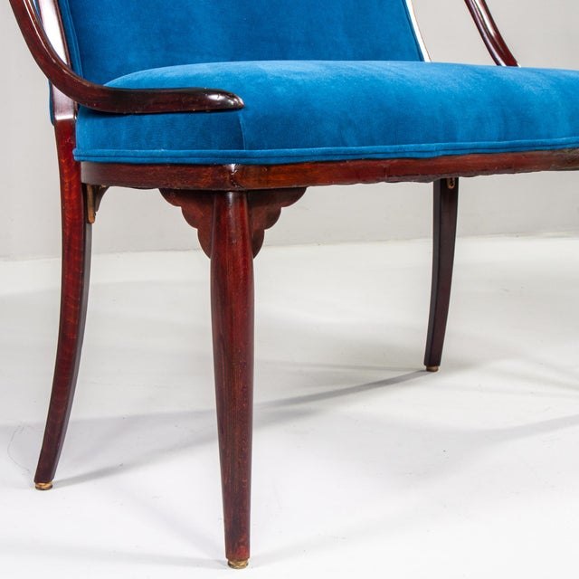Blue Thonet Bentwood Settee With New Teal Blue Velvet Upholstery For Sale - Image 8 of 10