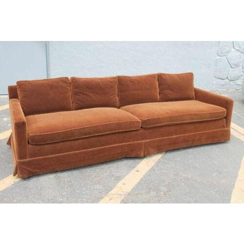 Textile Vintage Newly Reupholstered Chocolate Brown Mohair Sofa For Sale - Image 7 of 8