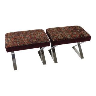 Reclaimed Persian Rug Chrome X-Based Ottomans - A Pair