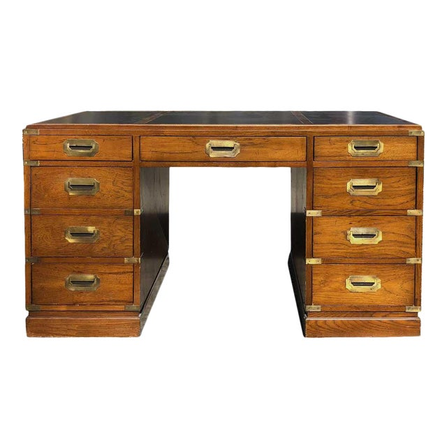 1970s Campaign Parnter Desk by Sligh For Sale