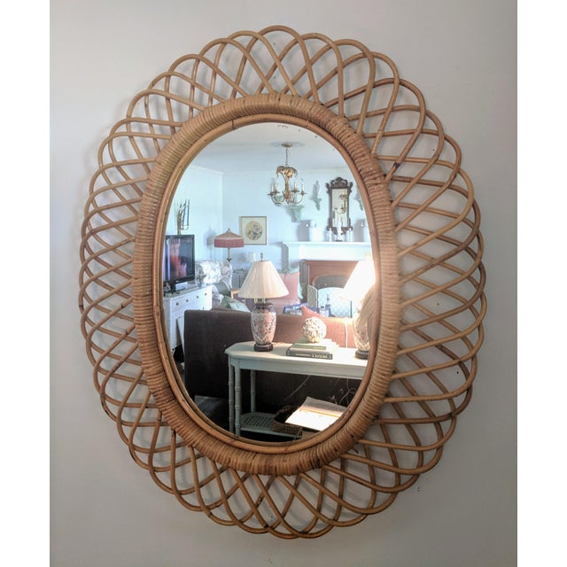 1960s Italian Rosenthal Netter Coiled Wicker Oval Mirror For Sale - Image 5 of 8