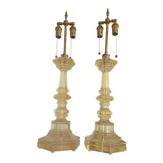 Pair of Resin Candlesticks Lamps by Dorothy Thorpe For Sale
