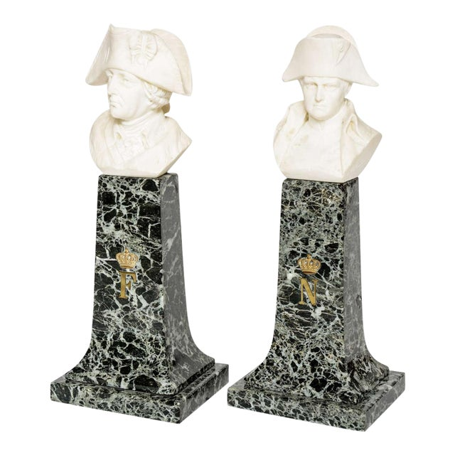 French Empire Style Marble and Alabaster Models of Napoleon and Frederick For Sale