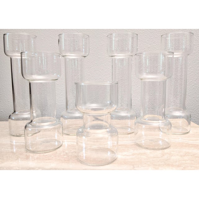 Minimalist Modernist Pyrex Vases by Creative Glass - Set of 7 For Sale - Image 9 of 9