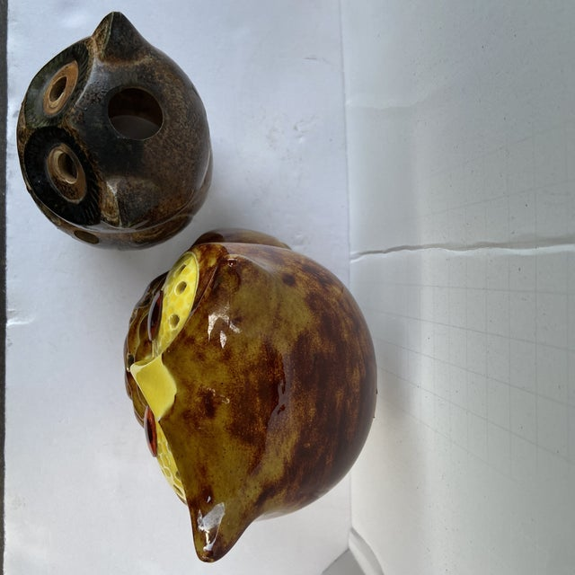 Mid Century Owl Votive Holders - A Pair For Sale - Image 11 of 12