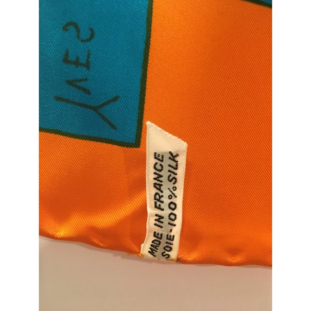 Mid-Century Modern 1970's Rare Collectible Yves Saint Laurent Graphic Silk Scarf For Sale - Image 3 of 5