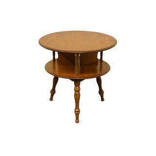 Late 20th Century Vintage Ethan Allen Baumritter Heirloom Nutmeg Maple Rotating Drum End Table For Sale
