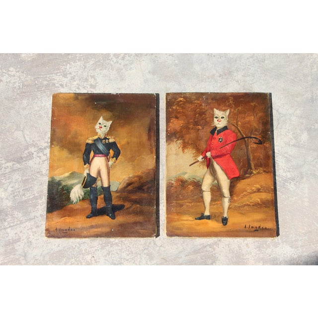 1900s French Singerie Style Portrait Oil Paintings of Cats in Military and Formal Dress - a Pair For Sale - Image 13 of 13