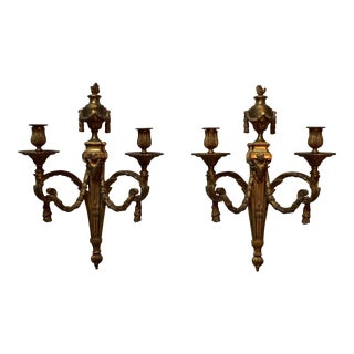 Large French Bronze Louis XVI Style Wall Sconces - a Pair For Sale