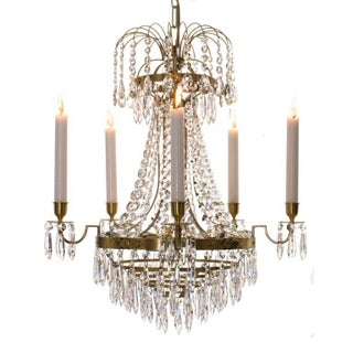 Empire Chandelier - Brass & Crystal For Sale