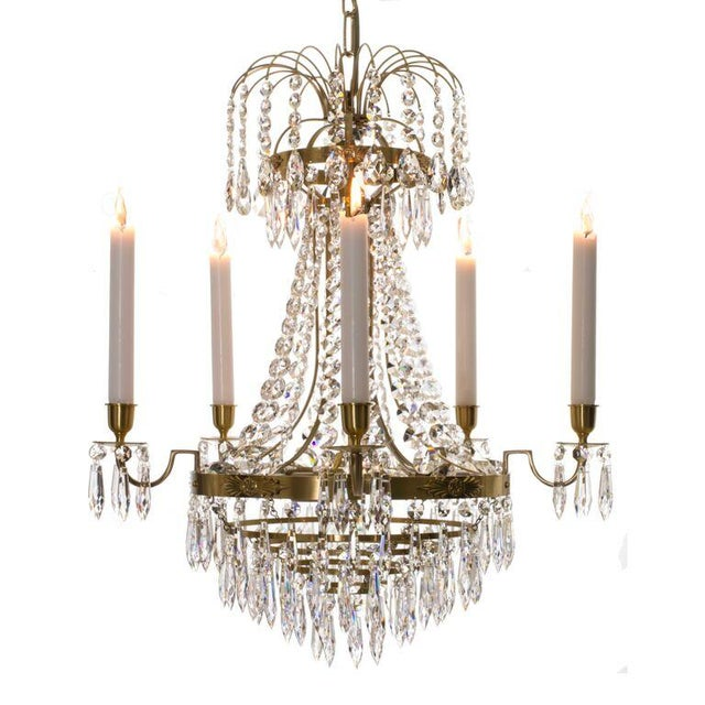 Empire Chandelier - Brass & Crystal - Image 1 of 4