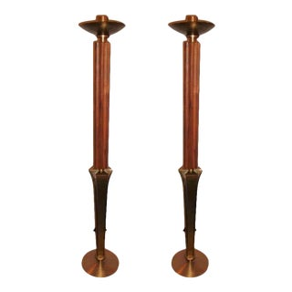 """Mid-Century Modern Teak and Brass Standing """"Prickets"""" Candlesticks - a Pair For Sale"""