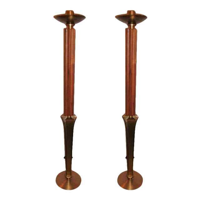 "Mid-Century Modern Teak and Brass Standing ""Prickets"" Candlesticks - a Pair For Sale"