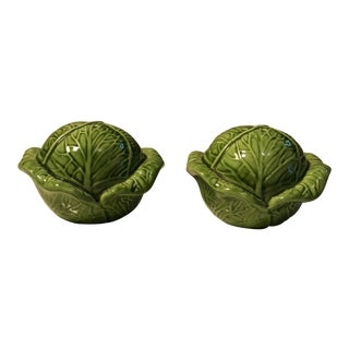 Vintage Majolica Cabbage Salt & Pepper Shakers - A Pair