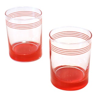 1980's Red Lines Lowball Cocktail Glasses - a Pair For Sale