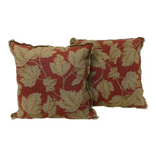 Ralph Lauren Vintage Maple Leaf Fabric Pillows - A Pair