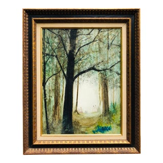 Vintage Mid Century Era Tall Trees Forest Hand Painted Signed Framed Art For Sale