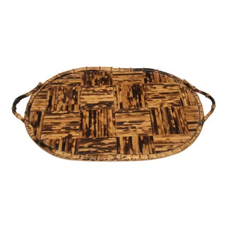 Vintage 1960s Tortoise Bamboo Tray For Sale