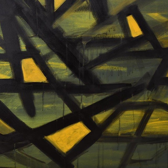 """Jaune"" Acrylic on Canvas Painting For Sale - Image 4 of 6"
