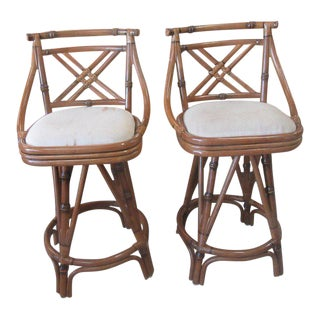 Cross Back Bamboo Bar Stools - A Pair