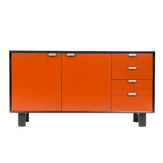 George Nelson Orange Credenza For Sale