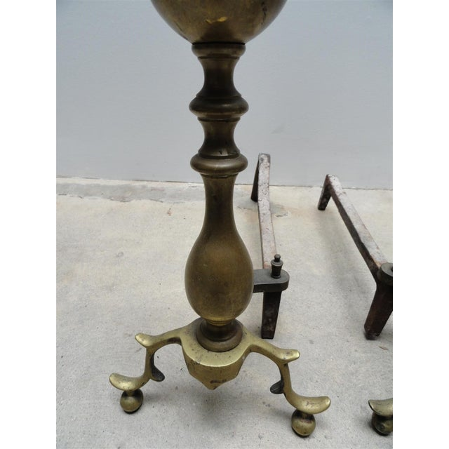 Antique American Brass & Iron Andirons - A Pair For Sale In Los Angeles - Image 6 of 7