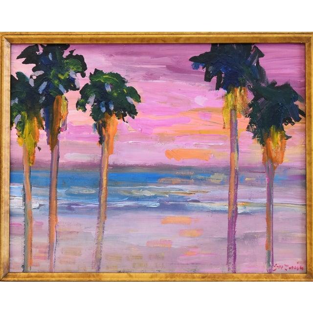 "Ventura, California seascape landscape painting with palm trees & sunset on canvas by Juan ""Pepe"" Guzman-Maldonado (Chile..."
