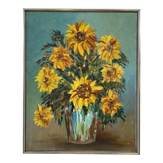 1960s Vase of Sunflowers Still Life Painting, Framed For Sale