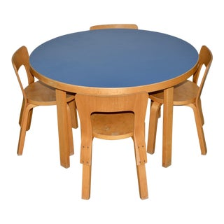 1930s Vintage Alvar Aalto Children's Table & Chairs - Set of 4 For Sale