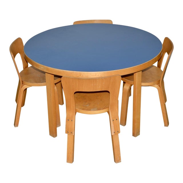 1930s Vintage Alvar Aalto Children's Table & Chairs - Set of 4 For Sale