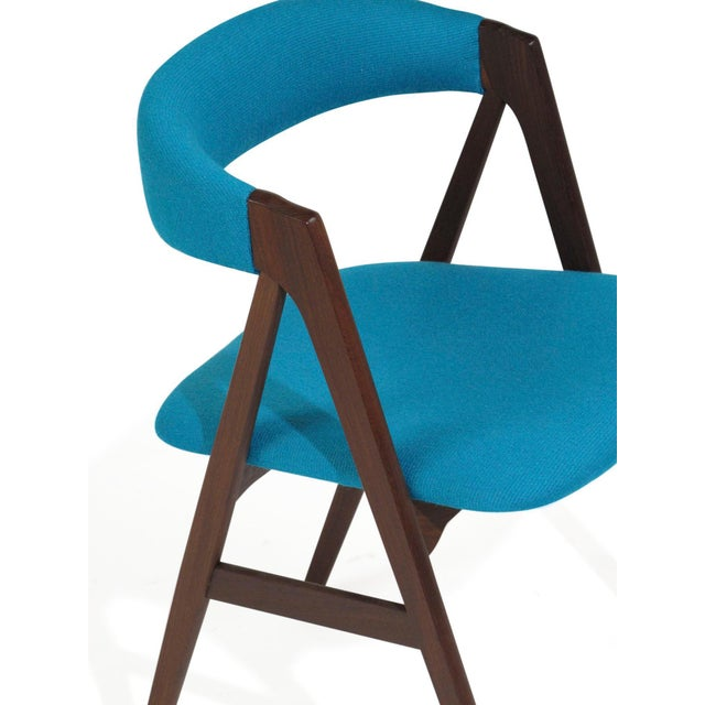 Wood Mid Century A-Frame Danish Turquoise Wool Dining Chairs - Set of 4 For Sale - Image 7 of 9