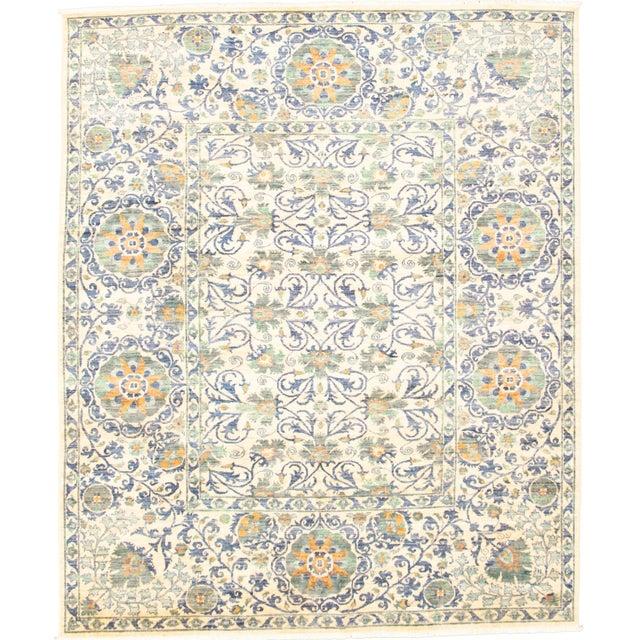 "Purple Uzbek Folk Design Handmade Wool Rug-8'x10"" For Sale - Image 8 of 8"