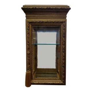 Gold Mirror & Beveled Glass Display Cabinet With Onyx Top