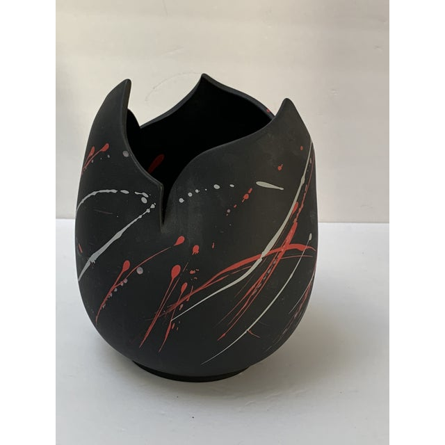 Rare Snars 1990 postmodern jagged edge vessel with black matte pottery from a Michigan Avenue Chicago collector. Killer...
