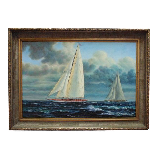 Vintage Mid-Century J. Gloguen Large Sailing Ship Schooner Nautical Signed Oil Painting For Sale