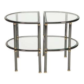 Pair Mid Century Demi Lune Gun Metal and Glass Side Tables For Sale