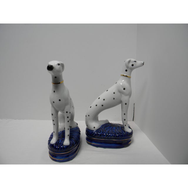 Blue Staffordshire Style Dalmatian Bookends - a Pair For Sale - Image 8 of 10