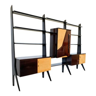 Ico Parisi Attributed Laminated Veneered Bar Wall Unit For Sale