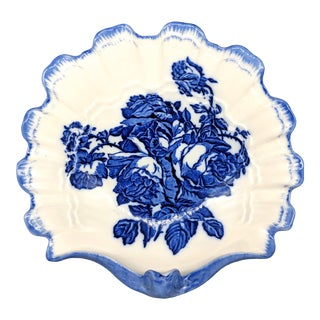 English Blakeney Staffordshire Blue and White Roses Ironstone Shell Bowl For Sale