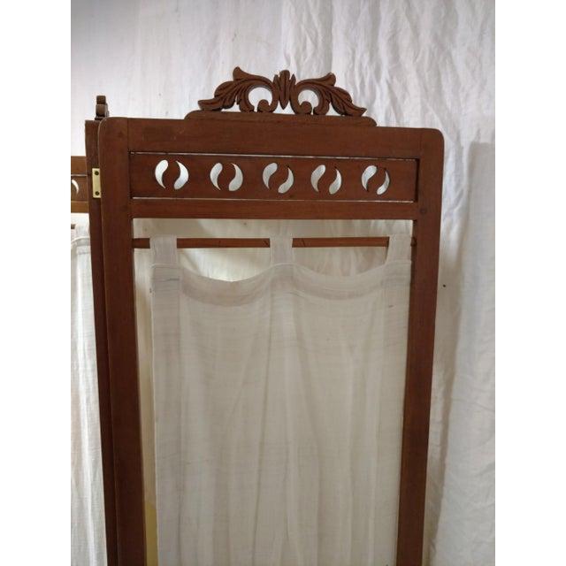 Asian Vintage Carved Wood Room Screen Linen Panels For Sale - Image 3 of 12