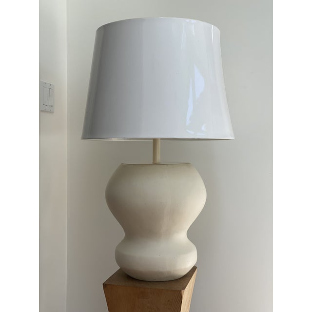 1980s Matte White Plaster Table Lamp by Michael Taylor For Sale - Image 9 of 13